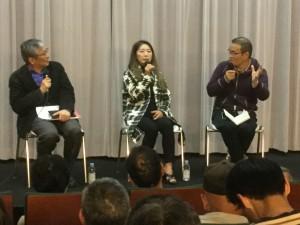 小沼監督特集上映で話し合う、右から中田秀夫監督、風祭ゆきさん、高崎俊夫さん